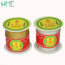 New Product Fine Silver Gold Folded Yarns 0.5/1mm 130/60yards/Roll Silver/Gold Color For Handmade Sewing Accessories(China)