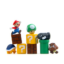 10 pcs / lot Super Mario bullet mushroom turtle wall well DIY Figure doll PVC Collection action Figure Toys