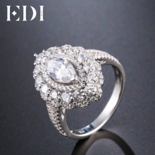 EDI Luxurious 14k 585 White Gold Moissanites Diamond 1ct Marquise Cut Ring For Women Wedding Engagement Fine Jewlery(China)