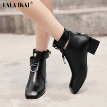 LALA IKAI Ankle Boots For Women Cut-Outs Retro Martin Boots Square Toe Metal Rings Zip Shoes For Ladies Luxury Design 040N1652-4(China)