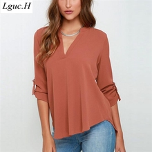Lguc.H Sexy Chiffon Blouse Women Large Size Summer Long Sleeves Smock Top Female Social Shirt White Office Style Blouse S,M 5XL