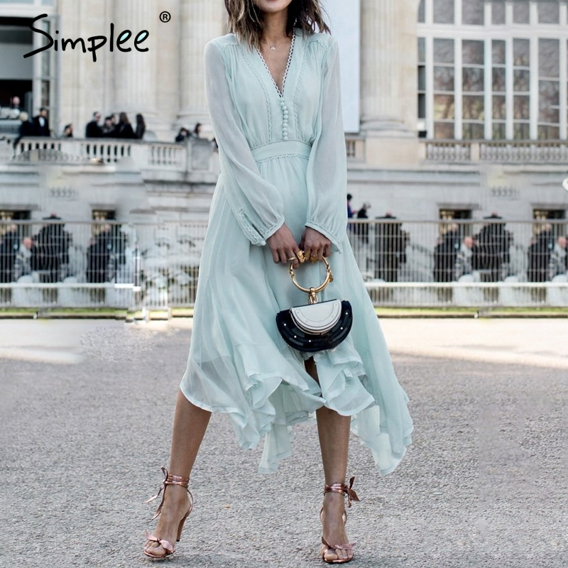 Simplee Elegant mint green dress women Long sleeve chiffon dresses summer Korean style casual pompon plus size vestidos 2019