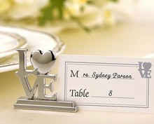 "500sets/lot ""LOVE"" Shape Silver Wedding Place Card Holder Wedding Favor"