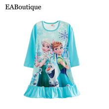 More designs New Winter long sleeve Cotton Girls nightgown kids print Cartoon princess sleepwear retail for 4-10 years old