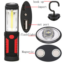COB LED Work Light Inspection Lamp Flashlight Torch Built in Magnetic Hook Hand Tool Garage Outdoors Camping Sport Home