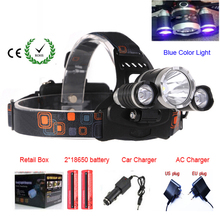 Blue Color light 3xC-XM-L XML T6 LED 5000 Lumens Headlight Light Bike/Bicycle Light / HeadLight +Battery+Charger+Car charger(China)