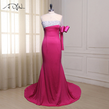 ADLN One Long Sleeve Prom Dresses Scoop Neck Court Train Beaded Sequin Formal Evening Gowns Side Zipper Robes De Soiree(China)