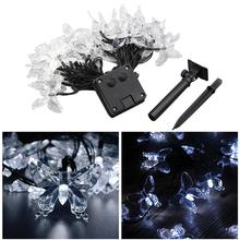 4.5m 20 LED Butterfly Solar Lights Waterproof Fairy Light for Christmas Wedding Decoration with Solar Panel (Cool White Light)(China)