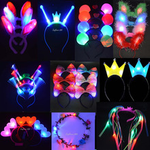 2017 NEW Light Up Flashing Blinking LED Headband Women Girl Birthday Glow Party Supplies Wedding Hair Accessories