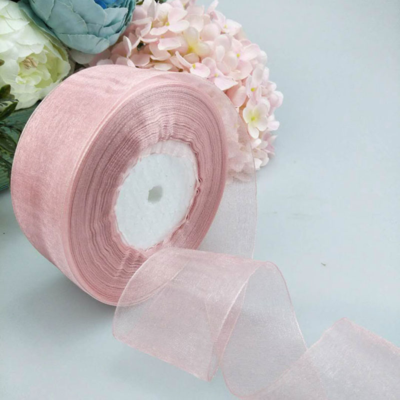 4cm*45m Organza Ribbon Apparel Sewing Fabric DIY Hairband Flowers Gift Packaging Wedding Decoration Tapes Ribbon Party Supplies