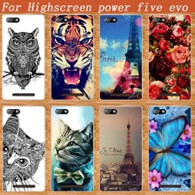 For Highscreen Power Five EVO Case Cover Luxury Diy Painting Colored Tiger Owl Rose Soft Tpu Power Five EVO Phone Sheer Bags