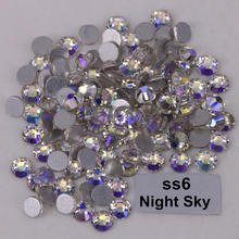 1440pcs/Lot, High Quality ss6 (1.9-2.1mm) Night Sky Glue On Flat Back Crystals / Non Hotfix Rhinestones(China)