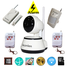 Anti theft WIFI alarm system wireless ptz mini ip camera HD home security with door sensor pir motion detector app control