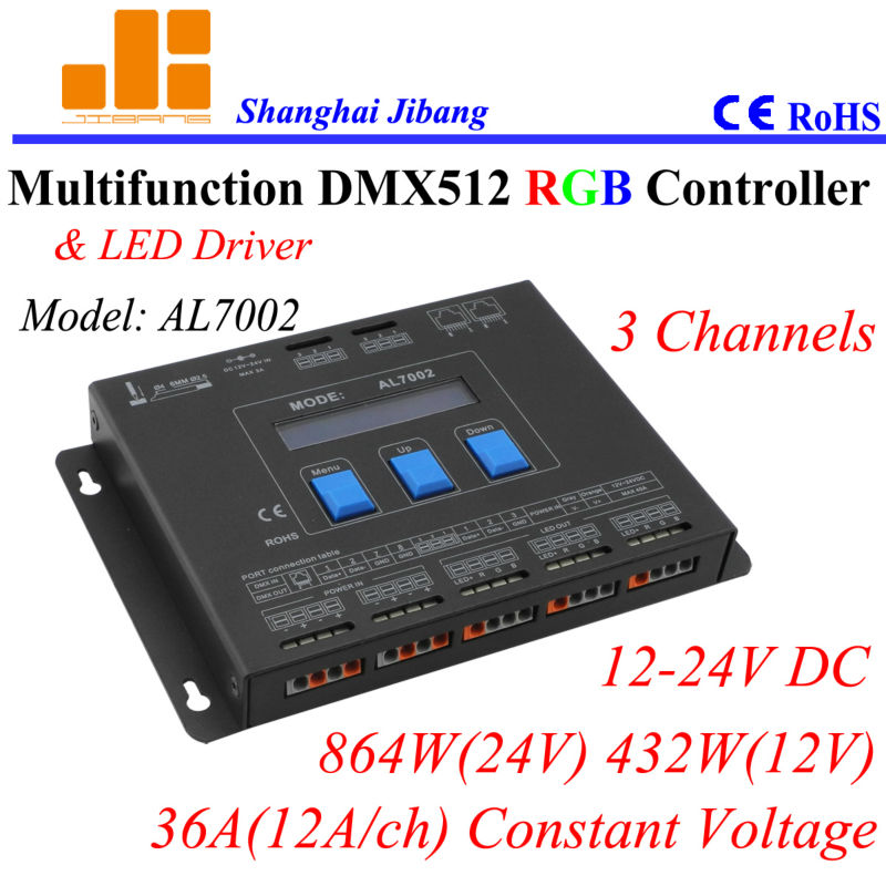 Free shipping Multiple RGB Controler / DMX drivers / DMX master,  3 Channels/12V-24V/36A/864W  pn:AL7002<br><br>Aliexpress