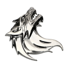 Reflective Emblem Car Sticker Motorcycle Badge Logo Windshield Auto Decoration Wolf Head Badge 3D Metal Decal