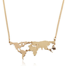 New Personality  Bijoux Fashion Gold World Map Combination Pendant Necklace For Women Fine Jewelry Collier Femme