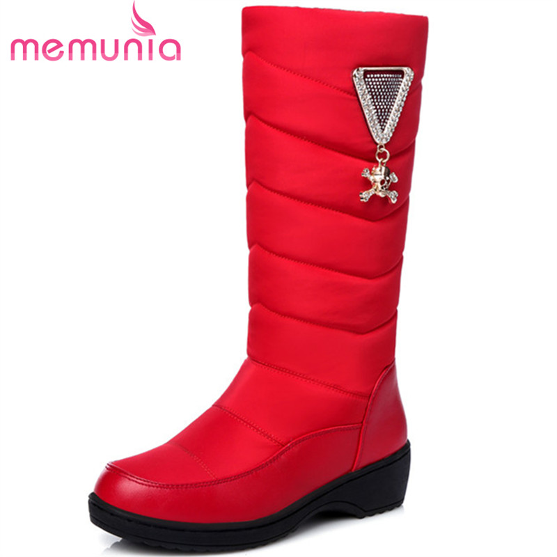 MEMUNIA Mid calf boots for women fashion shoes snow boots in winter keep warm platform womens boots down waterproof<br>