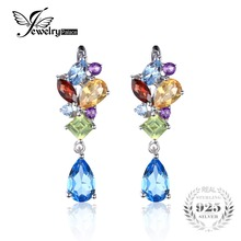 JewelryPalace Fashion 4ct Multicolor Natural Blue Topaz Amethyst Citrine Garnet Peridot  Earrings Clip 925 Sterling Silver