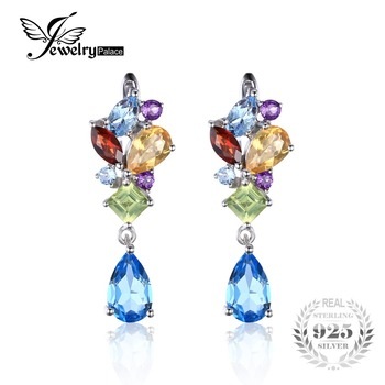 Jewelrypalace moda 4ct multicolor natural ametista citrino garnet peridot topázio azul brincos clipe de prata esterlina 925