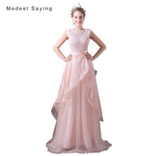 Sexy Sheer Pink A-Line Lace Cover Evening Dresses 2017 Formal Women Engagement Party Prom Gowns vestido longo de festa A027