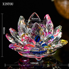 XINTOU 100 mm Feng shui Crystal Glass Lotus Artificial Flower Ornaments Christmas Wedding centerpieces DIY Party Decoration Gift(China)