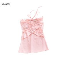 MILANCEL 2018 New Girls Dress Sleeveless Dress for Kids Girls Pink Kids Party Dress Solid Baby Clothing Ins Hot Dress for Girls(China)