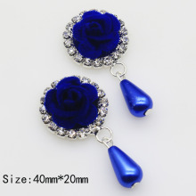 New 5pc Nonwovens blue Roses buttons 2017 Metal rhinestone invitation button for craft DIY hair flower center scrapbooking(China)