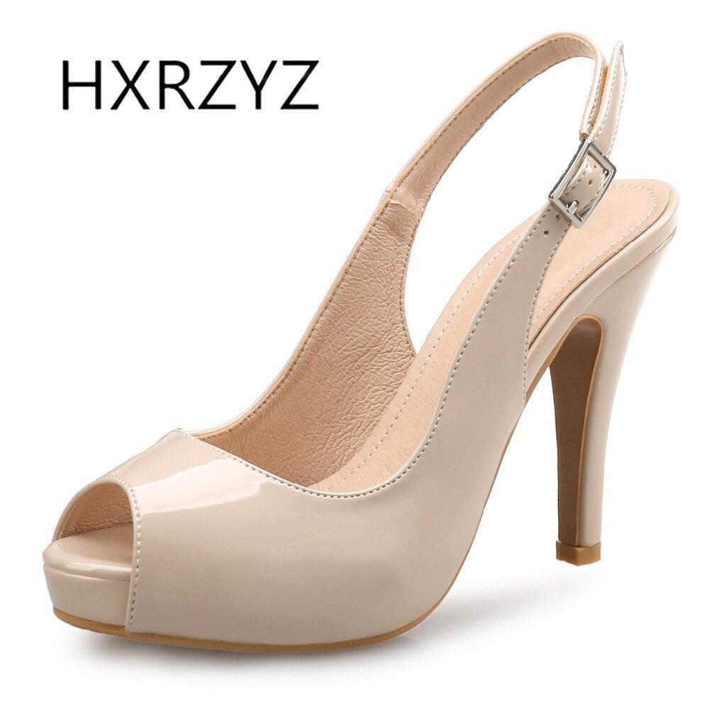 HXRZYZ large size women super high heels fish mouth open toe buckle sandals shoes spring/autumn new fashion ladies black pumps<br>