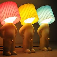 US plug naughty boy creative lamp small night lights,kids boys room energy-saving table lamp home decoration nice gift(China)