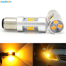 2pcs 1156 1157 P21W P21/5W Turn Signal Light High Power 21SMD 2835 779lm BAU15S PY21W Yellow Amber LED Parking Lamp Car-Styling
