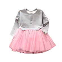Children Clothing Kids Baby Girls Clothes Long Sleeve Printed Patchwork Gauze Party Princess Girls Dress Vestido Infantil Cheap(China)