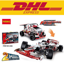 DHL Free Shipping  Decool 3366 1219pcs Technic Series 2-in-1 Truck F1 Racing Car Building Blocks Toy Bricks Sport Car compatible