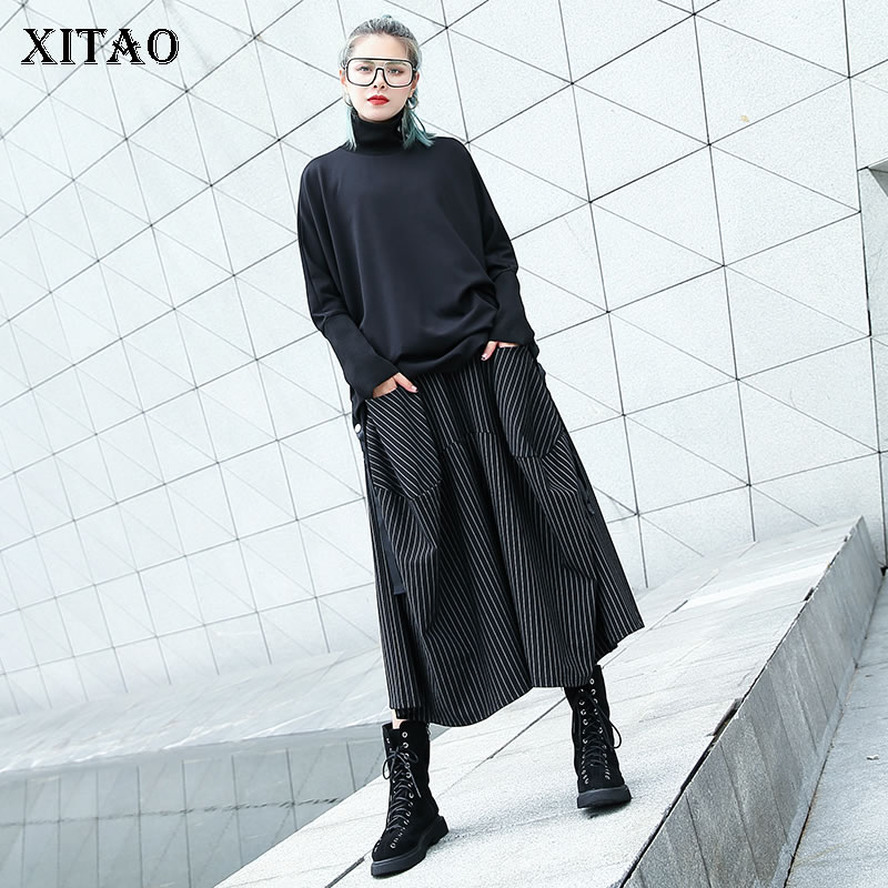 [XITAO] Women 2019 Autumn Korea Fashion Pleated Casual Wide Leg Pants Female Loose Elastic Waisted Ankle-length Pants CXB1360