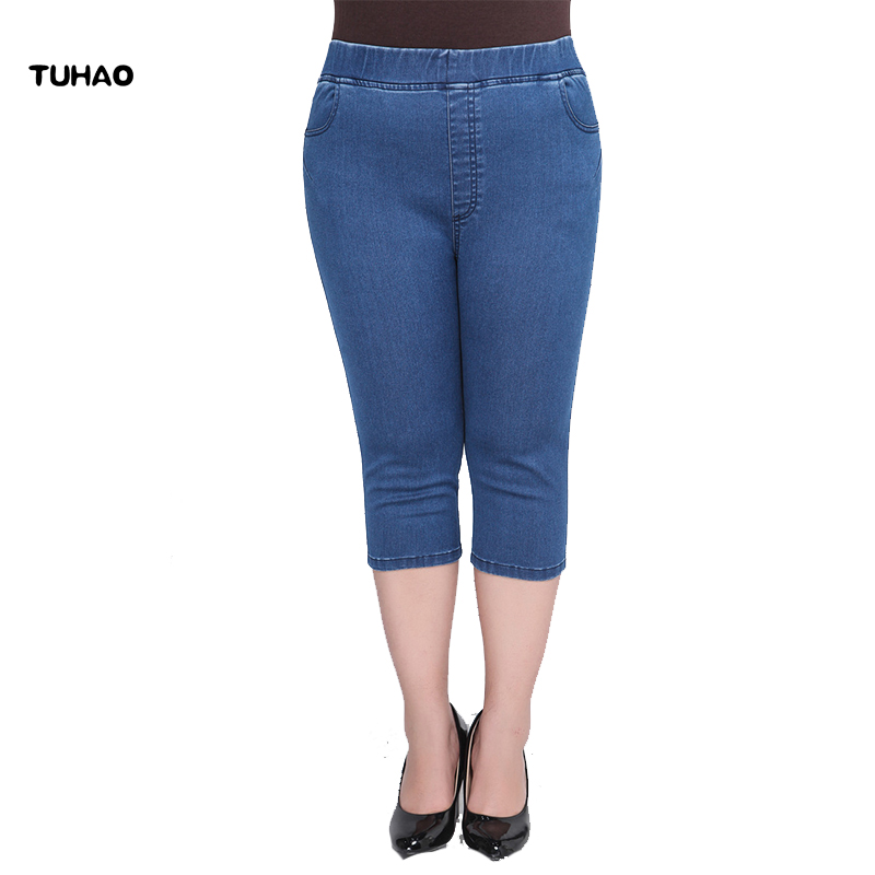 TUHAO Capri Women's Jeans Denim High Stretch Jeans Woman High Waist Plus Size 8xl 7XL 6XL 5XL Pantalon Femme Pants Calca YH11
