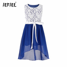 iefiel Kids Flower Girls Dress vestido Chiffon Pageant Party Lace Floral Dress Girls Princess Bridal Birthday Party Formal Dress(China)