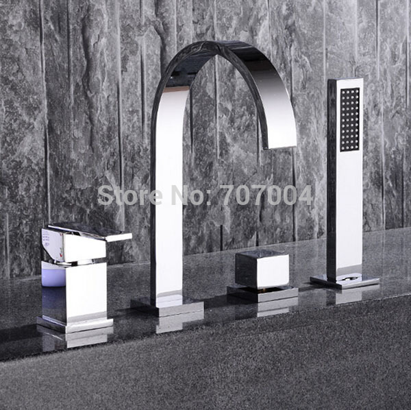 Chrome Finished Deck Mount Waterfall Bathtub Faucet Dual Handles with Handshower Tub Mixer Tap<br><br>Aliexpress
