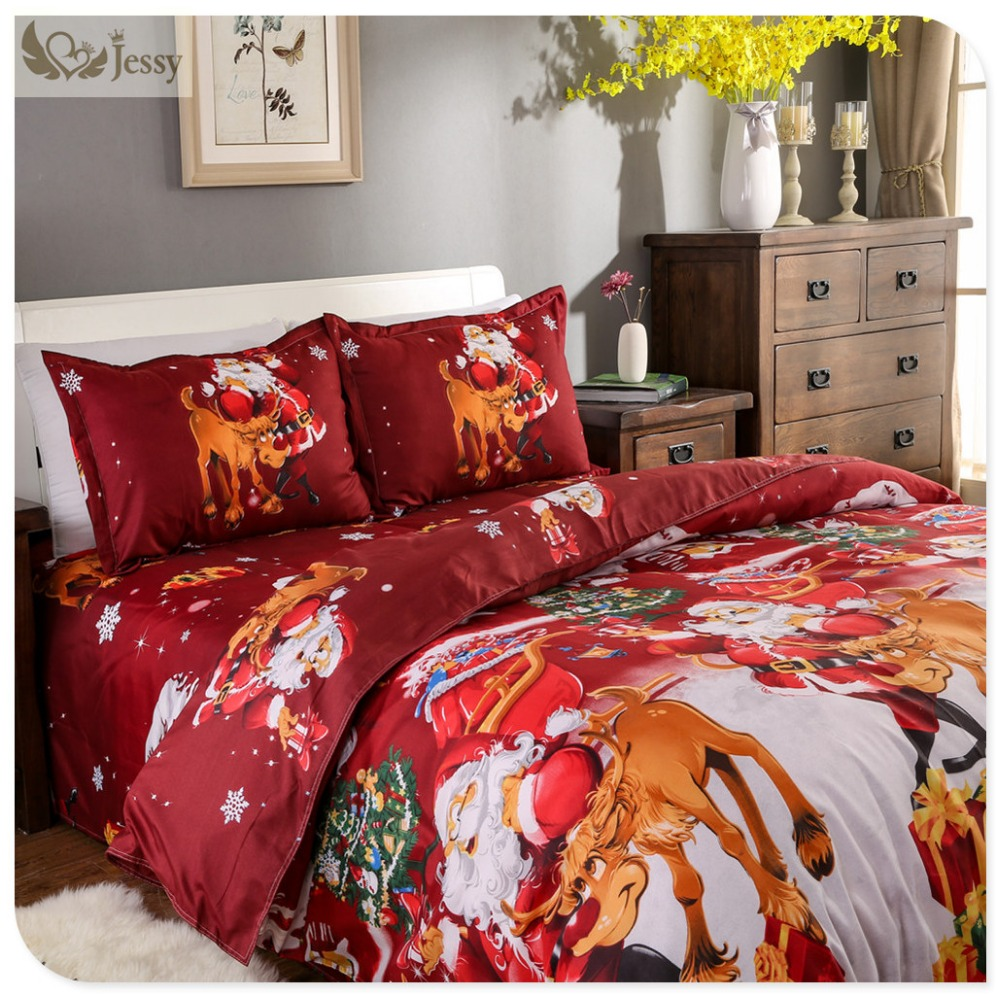 Great For Christmas, Set 4Pcs Christmas Santa Clause, 3D Bedding Set Duvet Cover Set,Sheet, Pillowcase, Sham Covers 22