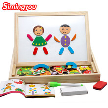 Simingyou Kids Wooden ToyMultifunctional Educational Magnetic Puzzle Children  Baby's Drawing Board A2-L3-P4 Drop Shipping