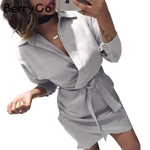 Buy BerryGo Satin belt autumn shirt wrap dress Women long sleeve sexy mini dress Winter casual club short christmas dress vestidos for $15.99 in AliExpress store