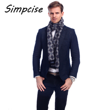 [Simpcise] Luxury Men Scarf Mufflers Business Style Men's Scarves Neckerchief for Male Winter Shawl pashmina A3A18923(China)