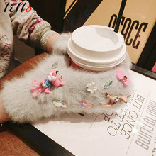 Dream deer pink leopard winter warm rabbit fur even finger glove women Fashionable cute girl gloves Wild models(China)