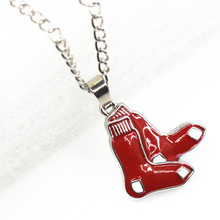 New 12pcs Boston Red Sox Baseball Team Necklace MLB Sport Necklace Pendant Charms with 24inch Chains Necklace Jewelry