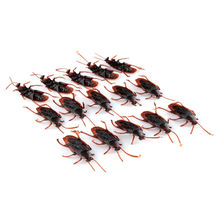10pcs/lot Rubber Cockroach Boys Toys Funny Simulation Fake Insects Kids Children Prank Gag Toys Wholesale(China)