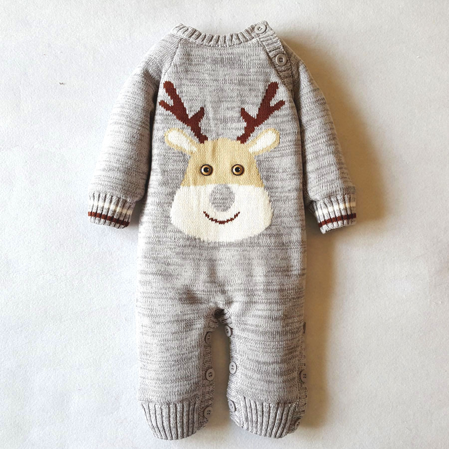 Winter Knitted Sweater Rompers Cute One Piece Newborn Infant Baby Girl Boy Christmas Romper Jumpsuit  Playsuit<br>
