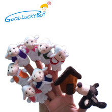 10PCS / Fairy Tale Wolf And The Seven Little Goats Finger Puppet Doll Baby Child Storytelling Early Childhood Educational Toys(China)