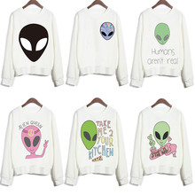 New Design Funny Alien Series Printed Sweatshirts Harajuku Punk Style White Feminine Sudaderas Women Cute Youth Brand Pullovers