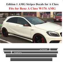 5D Carbon Fibre Edition 1 Style Racing Stripe Top Hood Side Skirt Decal Graphic Sticker Mercedes Benz W176 Class AMG A45 - Charming Horse 2168 Store store