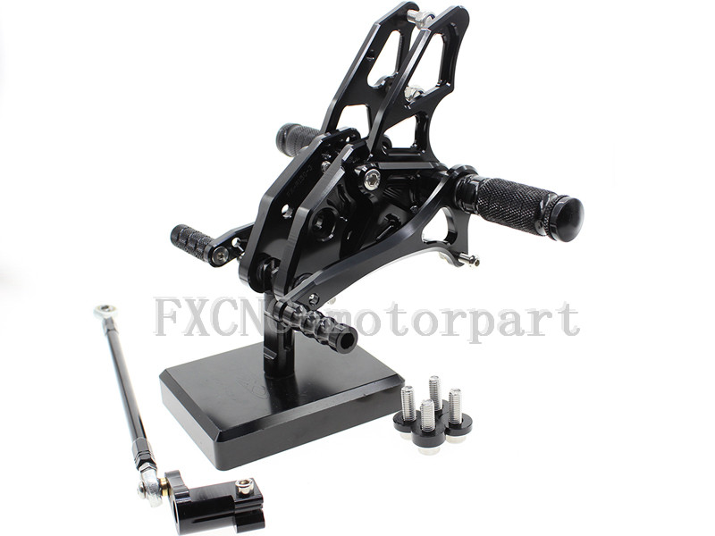 FXCNC Adjustable Rear Sets Foot Pegs CNC Aluminum Alloy Black Fit  For YAMAHA YZF R15<br><br>Aliexpress