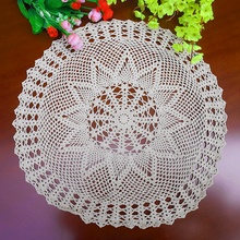 Handmade hook flowers cotton lace Crocheted place mats / Many Uses / hollow round decorative mat coasters pads/ Diameter 55-60CM