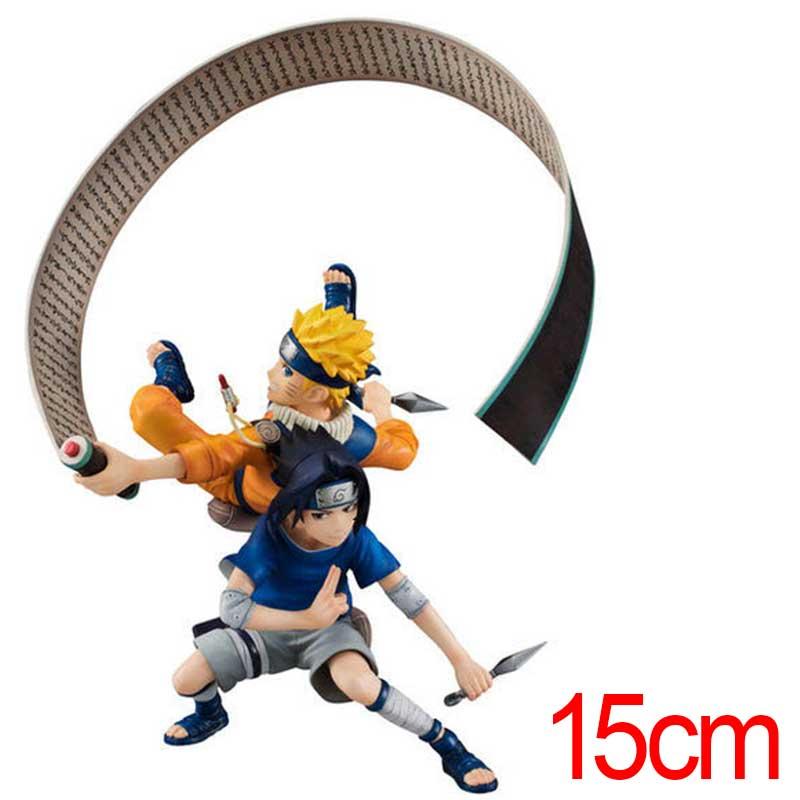 C&amp;F Animation Naruto Anime Action Figure Toys Uzumaki Naruto Uchiha Sasuke Fight PVC Model Collectible Figures Toys <br>